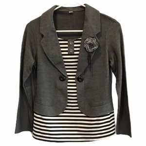 All in one jacket and blouse in grey, black, white